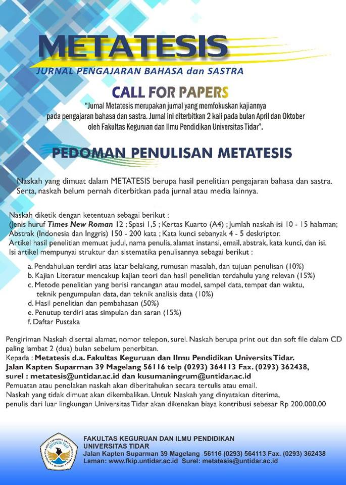 call papers metatesis